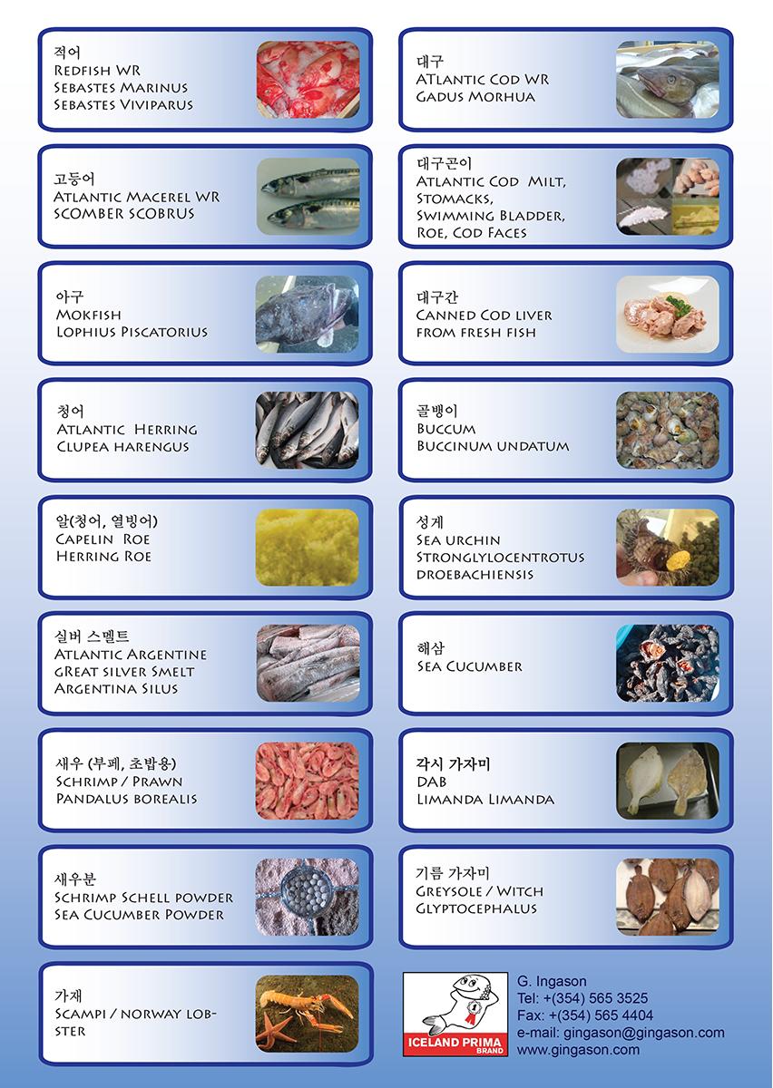 G.Ingason Korea Productlist