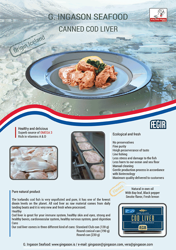 Canned cod liver G. Ingason Seafood, order form